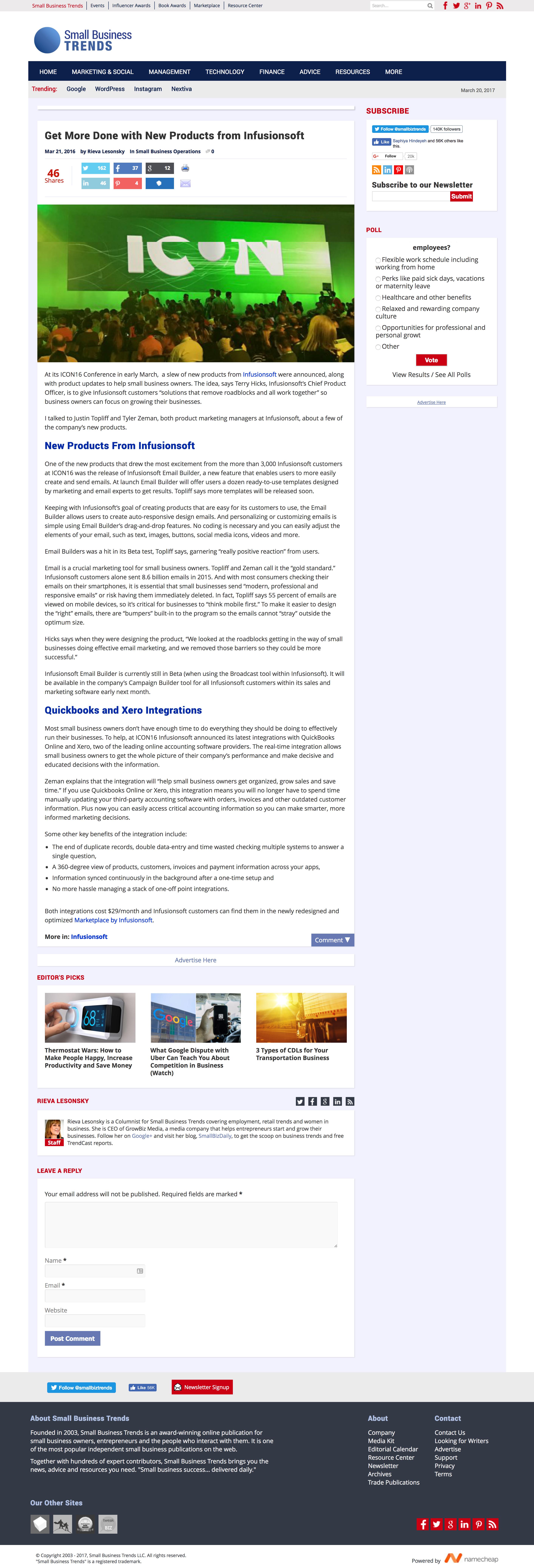 Justin Topliff Smallbiztrends infusionsoft new products