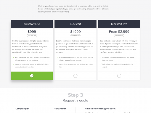 Infusionsoft Pricing Page Overhaul